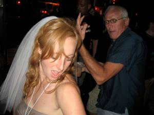 Some old dude interpretive dancing with the bride